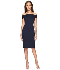 Adrianna Papell Off Shoulder Color Block Fitted Dress Blue Moon Women's Dress Navy
