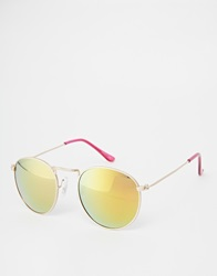 Asos Round Sunglasses In Matte Gold Finish