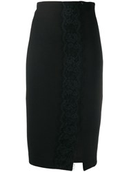 Twin Set Lace Trim Pencil Skirt Black