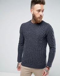 Asos Chunky Block Cable Jumper In Wool Mix Charcoal Grey