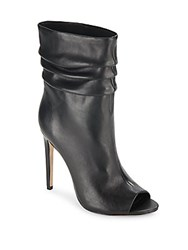 Halston Ruched Leather Open Toe Booties Black
