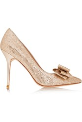 Lucy Choi London Rose Bow Embellished Glitter Finished Pumps