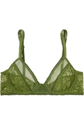 Lonely Kiki Lace And Tulle Underwired Soft Cup Bra Green
