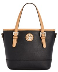 Giani Bernini Saffiano Mini Convertible Tote Created For Macy's Black