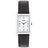 Rotary Men's Portland Leather Strap Watch Black White