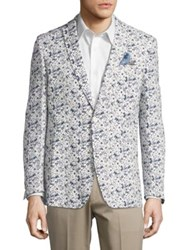 Tallia Orange Flower Print Sportcoat Blue