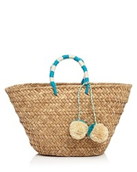 Kayu St. Tropez Straw Tote Natural Turquoise