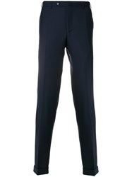 Canali Checked Tailored Trousers Wool Blue