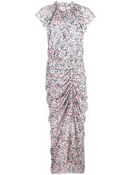 Veronica Beard Ruched Floral Dress Pink