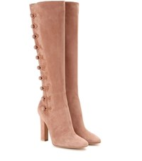 Gianvito Rossi Savoie Suede Knee High Boots Pink