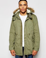 Native Youth Sherpa Lined Parka Jacket Green