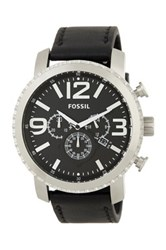 Fossil Men's Leather Strap Watch Black