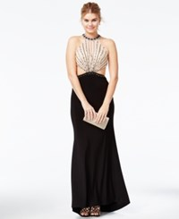 Jump Juniors' Beaded Open Back Cutout Gown Black Nude