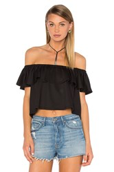 Eight Sixty Off The Shoulder Crop Top Black