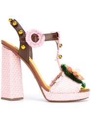 Dolce And Gabbana Decorative Moven Sandals Pink Purple