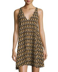 Bishop Young Ali Graphic Print Shift Dress Yellow Black