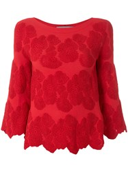 D.Exterior Floral Embroidered Blouse