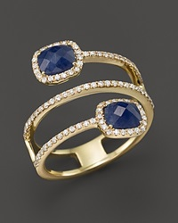 Meira T 14K Yellow Gold Blue Sapphire Triple Row Ring With Diamonds Gold Blue
