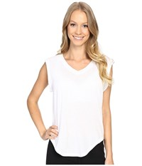 Zobha V Neck Muscle Tee W Open Back Bright White Women's T Shirt
