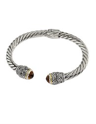 Effy Balissima Sterling Silver Citrine And 18K Yellow Gold Twisted Bangle Bracelet