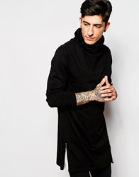 Asos Super Longline Long Sleeve T Shirt With Cowl Neck And Zips In Black