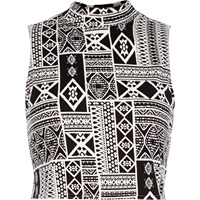 River Island Womens Black Tribal Print Fitted Crop Top