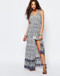 Kiss The Sky Maxi Tea Dress In Festival Print Navy