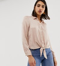 River Island Jaquard Tie Front Shirt In Pink