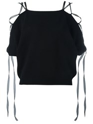 Valentino Lace Up Knitted Top Black