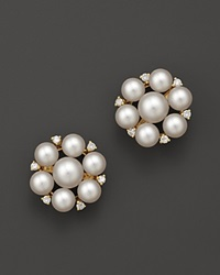 Bloomingdale's 14K Yellow Gold And Cultured Freshwater Pearl Cluster Earrings .36 Ct. T.W.