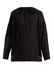 Joseph Elijah Tie Neck Silk Georgette Blouse Black