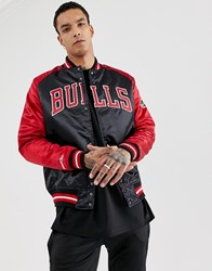 Mitchell And Ness Chicago Bulls Satin Jacket In Black Red