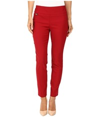Lisette L Montreal Solid Magical Lycra Ankle Pants Red Women's Casual Pants