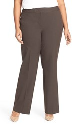 Sejour Plus Size Women's 'Ela' Stretch Curvy Fit Wide Leg Suit Pants Brown Chocolate