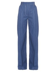 Sonia Rykiel Wide Leg Cotton Chambray Trousers