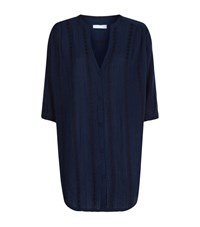 Elizabeth Hurley Beach Embroidered Button Down Tunic Top Female Blue