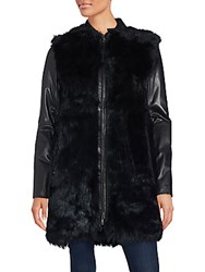 Vince Long Leather And Fur Coat Creme