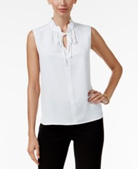 Nine West Tie Neck Top White