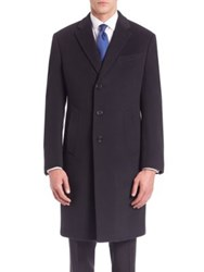 Armani Collezioni Wool And Cashmere Overcoat Navy