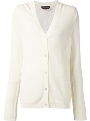 Rochas Floral Embroidered Back Cardigan White