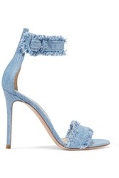 Gianvito Rossi Lola Frayed Denim Sandals Light Denim