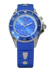 Kyboe Power Blue Silicone And Stainless Steel Strap Watch 40Mm