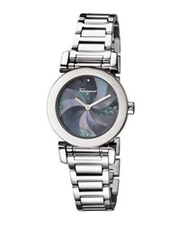 Salvatore Ferragamo 31Mm Bracelet Watch W Mother Of Pearl Dial And Diamonds Black