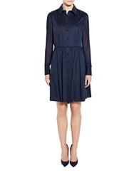 Pink Tartan Collared Shirt Dress Navy