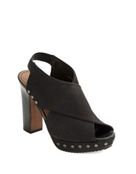 Donald J Pliner Jagger Nubuck Leather Platform Mules Black