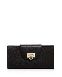 Salvatore Ferragamo Mediterraneo Fold Over Pebbled Leather Wallet Nero Black Gold