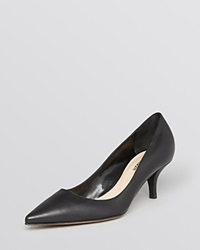 Delman Pointed Toe Pumps Belle Mid Heel Black
