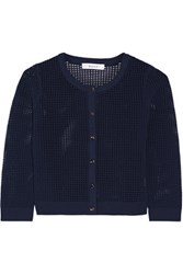 Milly Open Knit Cardigan Storm Blue
