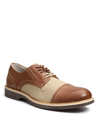 Bass Perkins Leather Cap Toe Brogue Oxfords Brown Tan