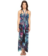 Fuzzi Tropical Flower Print Halter Single Layer Cover Up Turquoise Women's Clothing Blue